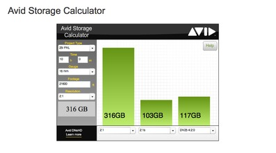Avid Storage Calculator